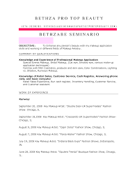 artist resume objective template makeup artist sample cover letter
