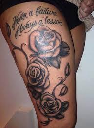 woman thigh tattoo rose font ideas tattoo designs