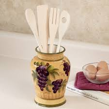 bella grapes kitchen utensil holder with utensils set