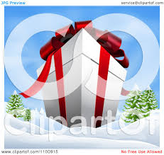 christmas gift bows clipart 3d christmas gift box with ribbon and bows in a
