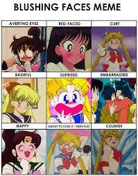 Sailor Moon Meme - sailor moon blushing faces meme by britishchick09 on deviantart