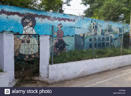 wall graffiti street art plants stock photos wall graffiti hyderabad india october 22 2017 wall murals depicting various tourist spots of hyderabad