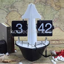 nautical black boat desk flip clock table shelf clocks battery