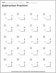 simple subtraction worksheets for students and teachers pdf format