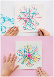Hand Crafts For Kids To Make - kid made diy string art flower cards these pretty handmade cards
