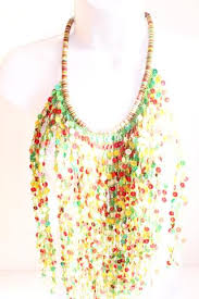 coloured statement necklace images Green and multi coloured bead layered bib bead statement necklace JPG