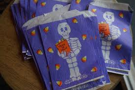 vintage halloween treat bags with skeleton purple from ustamp2 on