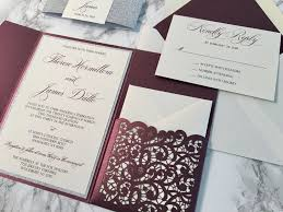 wedding invitations lace sparkling merlot and silver glitter lace laser cut wedding