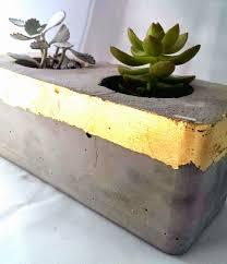 nostalgiecat concrete and gold succulent planter and tea