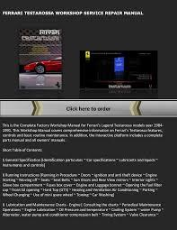 testarossa maintenance testarossa service workshop repair manual