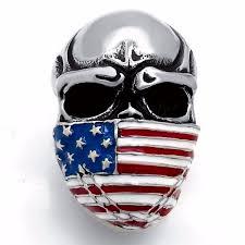 steel skull rings images Elfasio men 39 s stainless steel band ring american flag mask skull jpg