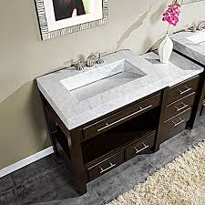 56 inch single sink cabinet with espresso finish and white marble
