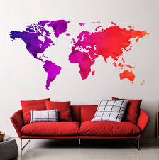 World Map Decal by Big World Map Wall Decal Map Removable Multicolored Full Color