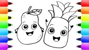 pineapple u0026 fruits coloring pages for children simple drawings