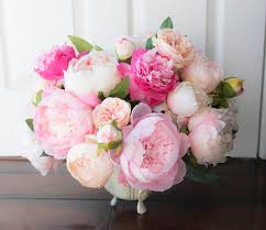 peony arrangement silk blush and pink peonies arrangement centerpiece extra