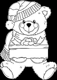 bear presents coloring christmas coloring sheets org