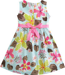 amazon com sunny fashion girls dress blue flower print playwear