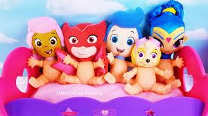 pj masks paw patrol baby dolls jumping bed