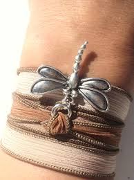 Unique Dragonfly Gifts Dragonfly Silk Wrap Bracelet Brown Bohemian Yoga Jewelry Necklace