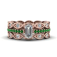 wedding rings sets for women emerald cut pave infinity diamond trio wedding ring sets for women