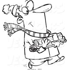 vector of a cartoon winter man carrying firewood outlined