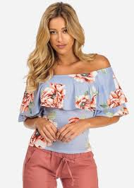 light blue off the shoulder top blue summer floral ruffle off shoulder short sleeve top