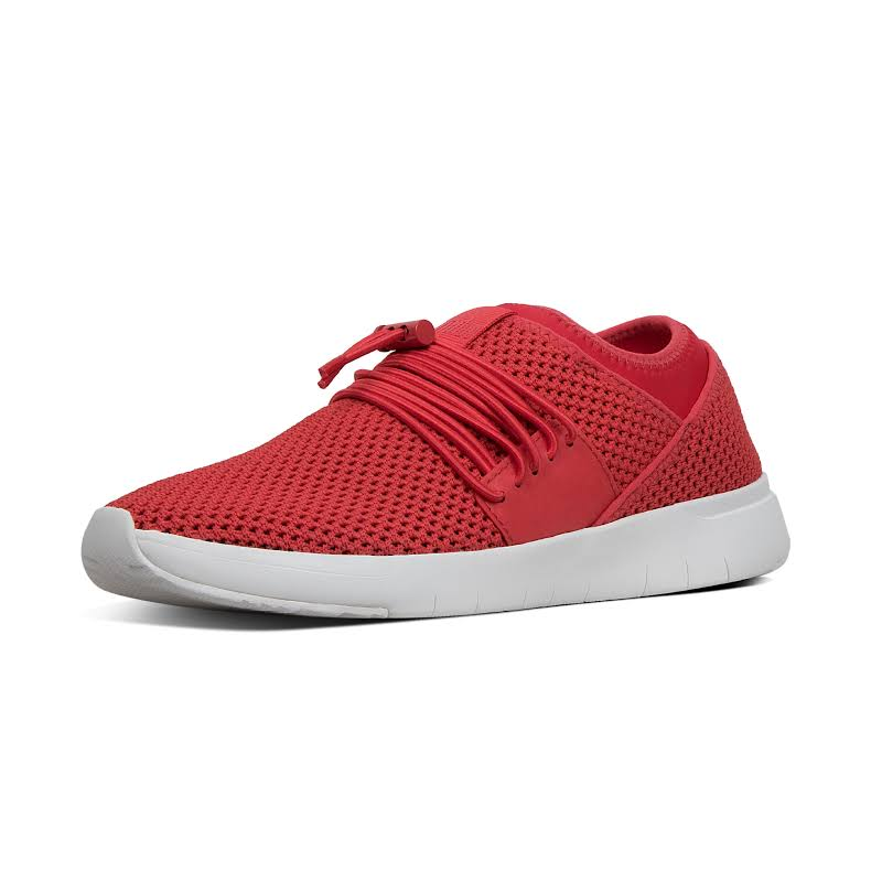 Fitflop Airmesh Lace Up Slip On Trainer Sneakers Red 9 Medium (B,M)