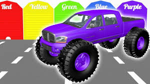 kids monster truck videos colors for children to learn with monster truck street vehicles