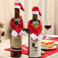Table Decorations For Christmas Christmas Decoration Red Wine Bottle Cover Bags Santa Claus Dinner