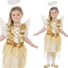 girls gold angel costume wings halo christmas nativity fancy dress