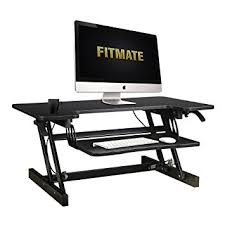 stand up desk multiple monitors amazon com fitmate 34 preassembled infinite adjustable height