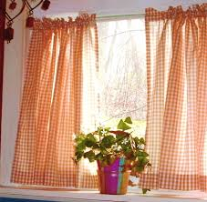 Orange Thermal Curtains Orange Gingham Kitchen Caf礬 Curtain Unlined Or With White Or