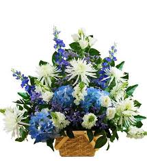 sympathy basket traditional blue and white sympathy basket avas flowers
