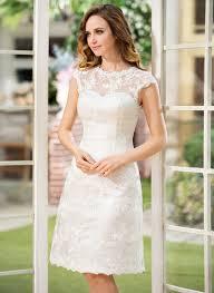 Knee Length Wedding Dresses A Line Princess Scoop Neck Knee Length Lace Wedding Dress