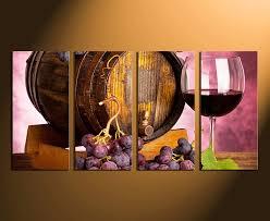 Wine Glass Wall Decor 4 Piece Artwork Wine Canvas Wall Art Wine Glass Huge Canvas