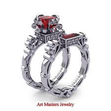 engagement rings and wedding band sets masters caravaggio 14k white gold 1 5 ct princess ruby diamond