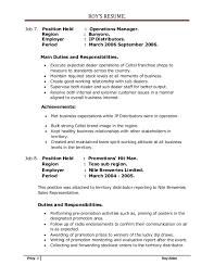 Territory Manager Job Description Resume by Roy U0027s Nov Upto Date Resume