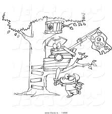 house outline vector of a cartoon boy playing near his pirate tree house