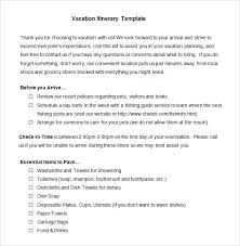 vacation itinerary template 8 free excel pdf documents download