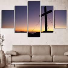 Christian Home Decor Wall Art Online Shop 5 Panels Christian Church Cross Wall Art Picture Home