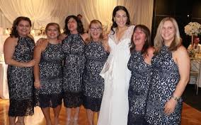 six women attend sydney wedding wearing the same dress and they