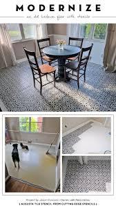 tile in dining room modernize an old linoleum floor with stencils stencil stories