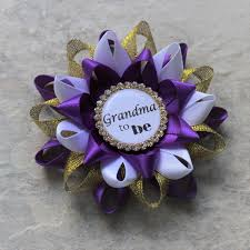 purple and gold baby shower corsages purple baby shower