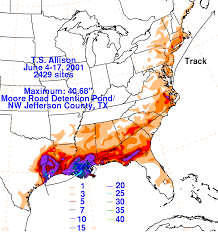 rainfall totals map tropical allison june 2001