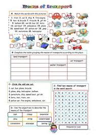 298 free esl means of transport worksheets
