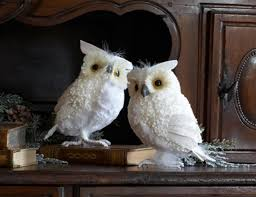 set of 2 snowy winter white owl table top decorations