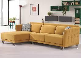 Yellow Sectional Sofa Vasto Yellow Flocking Fabric Modern Sectional