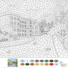 old town street color by number free printable coloring pages