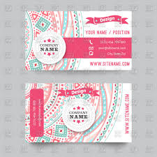 business card template with ornate pattern vector image 66685