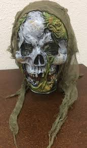decaying skull mask rubber with hood scary creepy halloween